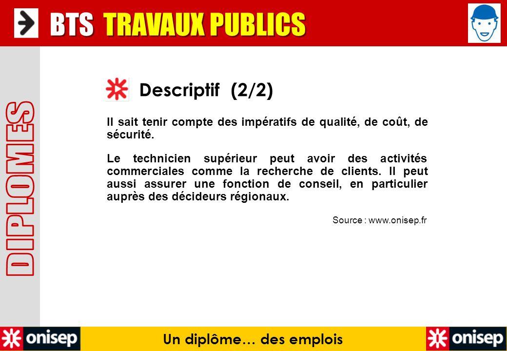 Source : www.onisep.fr Descriptif (2/2) BTS TRAVAUX PUBLICS Un diplôme… des emplois Il sait tenir compte des impératifs de qualité, de coût, de sécuri