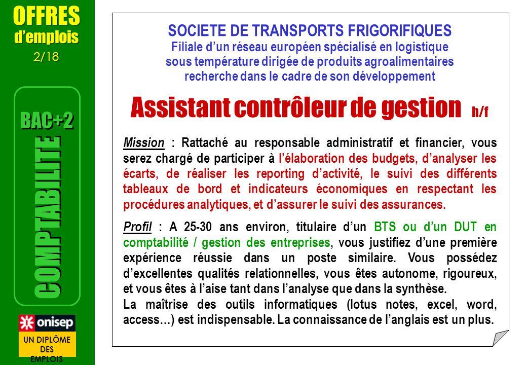 SOCIETE DE TRANSPORTS FRIGORIFIQUES Filiale dun réseau européen spécialisé en logistique sous température dirigée de produits agroalimentaires recherc