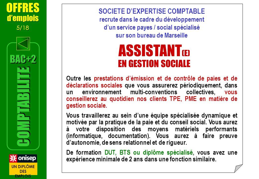 SOCIETE DEXPERTISE COMPTABLE recrute dans le cadre du développement dun service payes / social spécialisé sur son bureau de Marseille ASSISTANT (E) EN