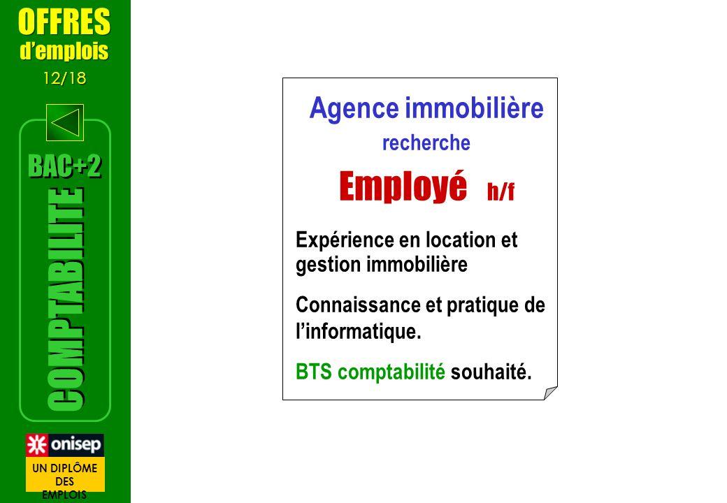Agence immobilière recherche Employé h/f Expérience en location et gestion immobilière Connaissance et pratique de linformatique. BTS comptabilité sou