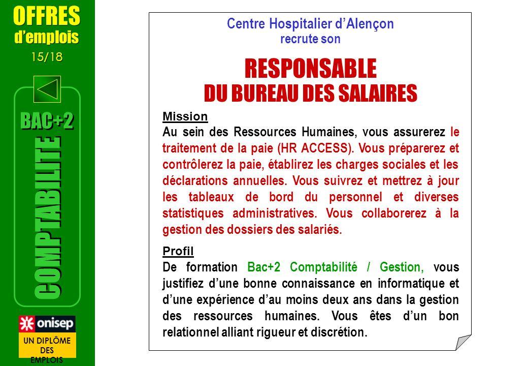 Centre Hospitalier dAlençon recrute son RESPONSABLE DU BUREAU DES SALAIRES Mission Au sein des Ressources Humaines, vous assurerez le traitement de la