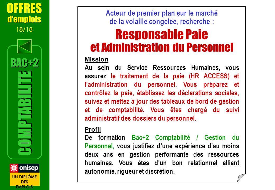 Acteur de premier plan sur le marché de la volaille congelée, recherche : Responsable Paie et Administration du Personnel Mission Au sein du Service R