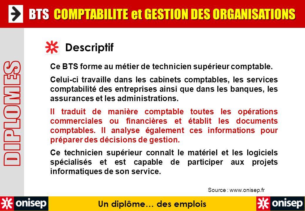 Source : www.onisep.fr Descriptif Un diplôme… des emplois BTS COMPTABILITE et GESTION DES ORGANISATIONS Ce BTS forme au métier de technicien supérieur