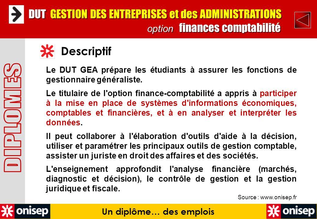 Source : www.onisep.fr Descriptif Un diplôme… des emplois DUT GESTION DES ENTREPRISES et des ADMINISTRATIONS option finances comptabilité DUT GESTION