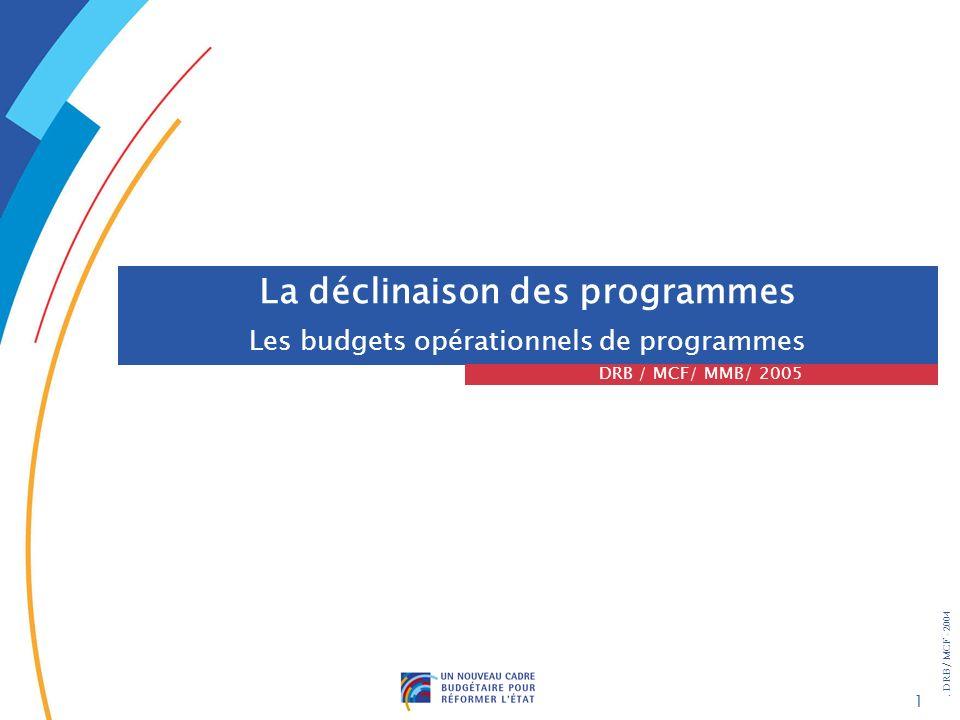 . DRB/ MCF - 2004 1 La déclinaison des programmes Les budgets opérationnels de programmes DRB / MCF/ MMB/ 2005