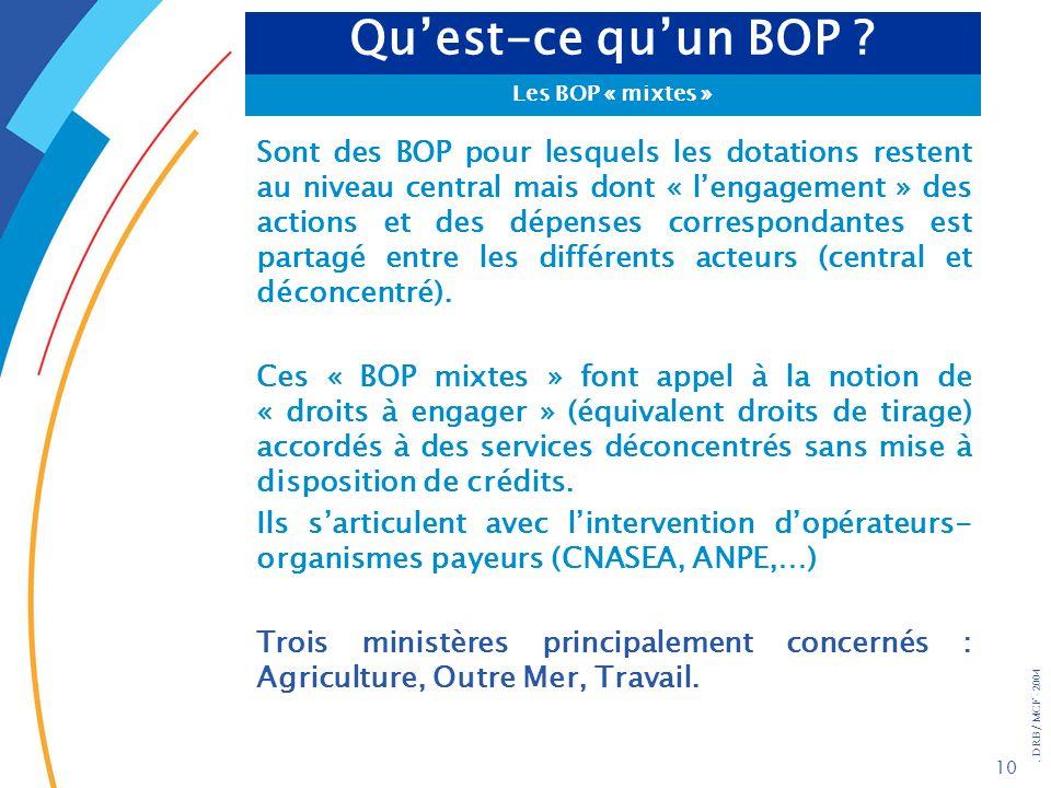 . DRB/ MCF - 2004 10 Sont des BOP pour lesquels les dotations restent au niveau central mais dont « lengagement » des actions et des dépenses correspo