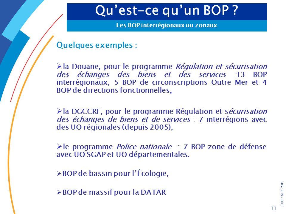. DRB/ MCF - 2004 11 Quelques exemples : la Douane, pour le programme Régulation et sécurisation des échanges des biens et des services :13 BOP interr