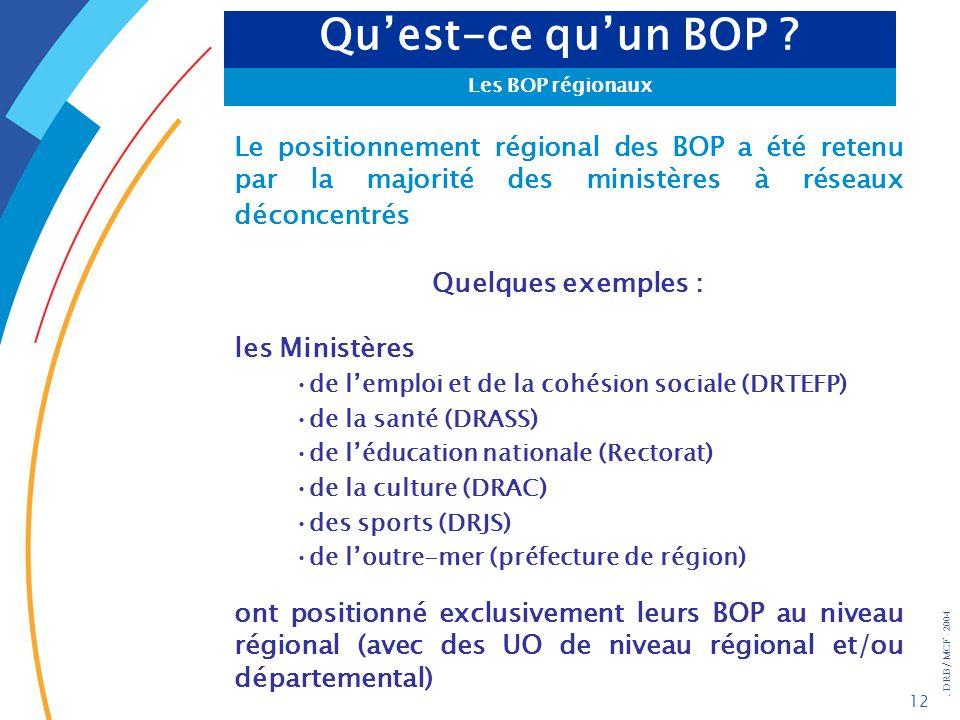 . DRB/ MCF - 2004 12 Le positionnement régional des BOP a été retenu par la majorité des ministères à réseaux déconcentrés Quelques exemples : les Min