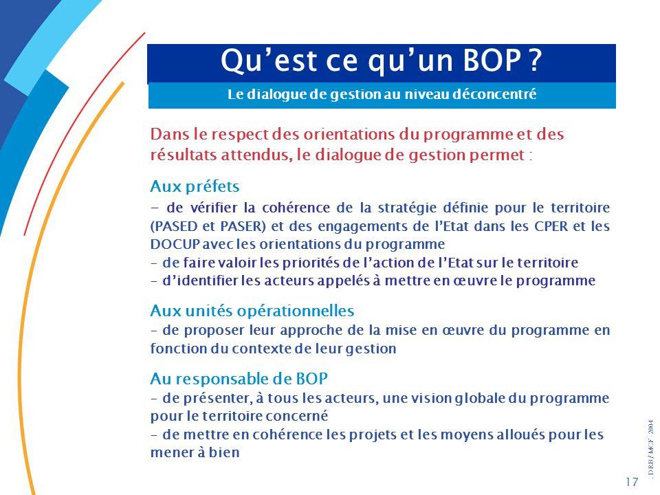 . DRB/ MCF - 2004 17 Quest ce quun BOP ? Le dialogue de gestion au niveau déconcentré Dans le respect des orientations du programme et des résultats a