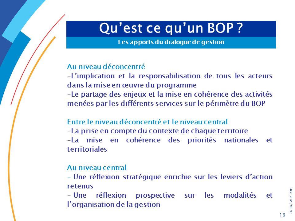 . DRB/ MCF - 2004 18 Quest ce quun BOP ? Les apports du dialogue de gestion Au niveau déconcentré -Limplication et la responsabilisation de tous les a