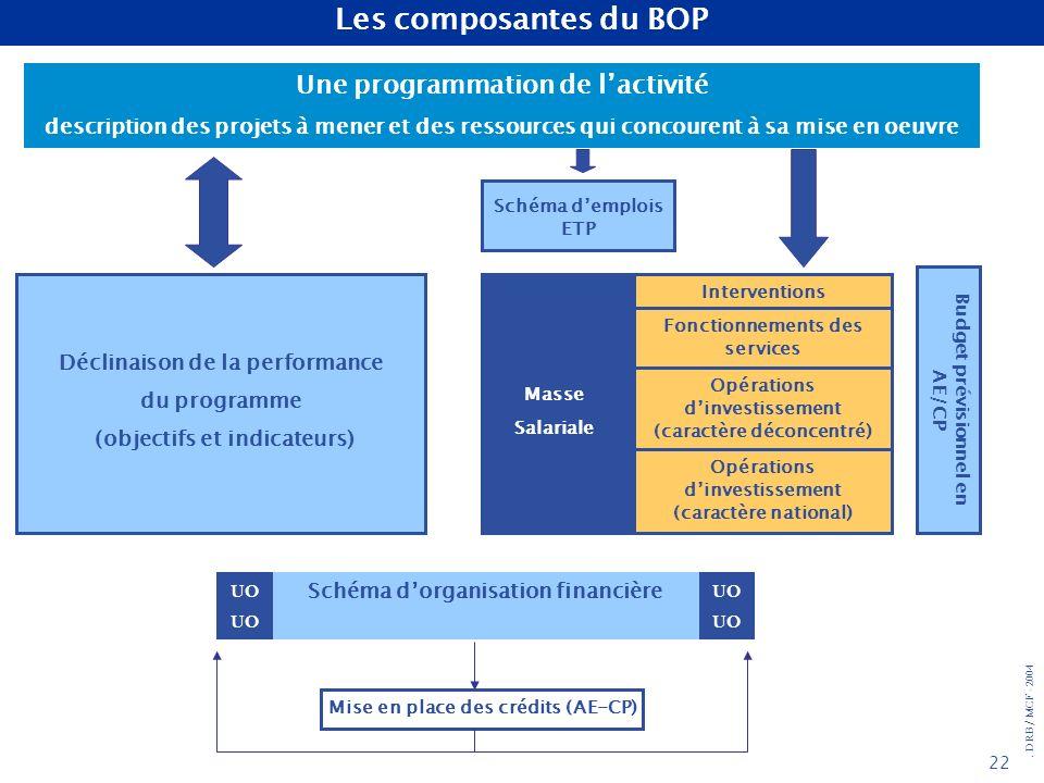 . DRB/ MCF - 2004 22 Une programmation de lactivité description des projets à mener et des ressources qui concourent à sa mise en oeuvre Déclinaison d