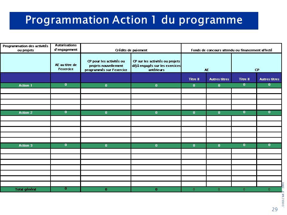 . DRB/ MCF - 2004 29 Programmation Action 1 du programme