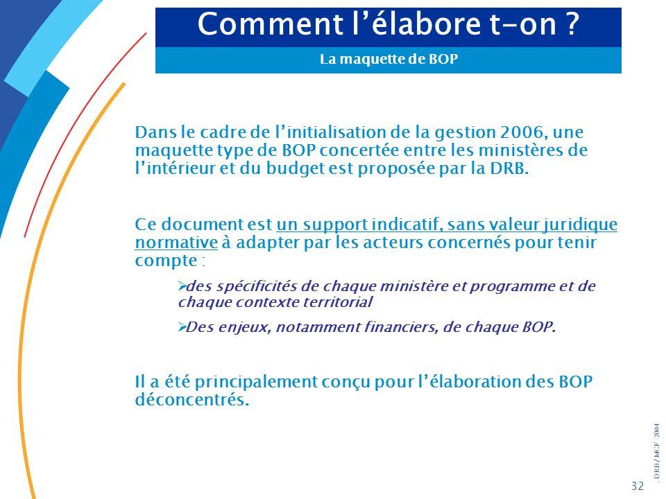 . DRB/ MCF - 2004 32 Dans le cadre de linitialisation de la gestion 2006, une maquette type de BOP concertée entre les ministères de lintérieur et du