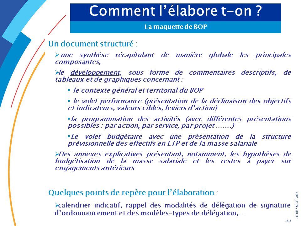 . DRB/ MCF - 2004 33 Un document structuré : une synthèse récapitulant de manière globale les principales composantes, le développement, sous forme de