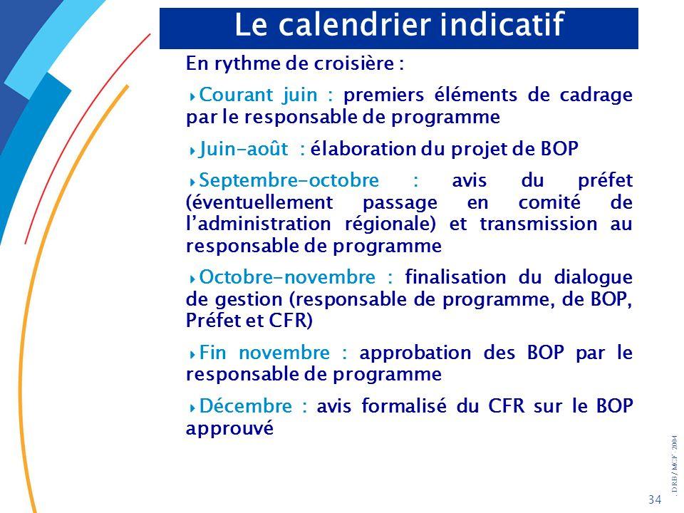 . DRB/ MCF - 2004 34 Le calendrier indicatif En rythme de croisière : Courant juin : premiers éléments de cadrage par le responsable de programme Juin