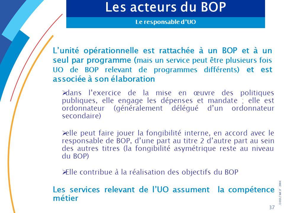 . DRB/ MCF - 2004 37 Les acteurs du BOP Le responsable dUO Lunité opérationnelle est rattachée à un BOP et à un seul par programme ( mais un service p
