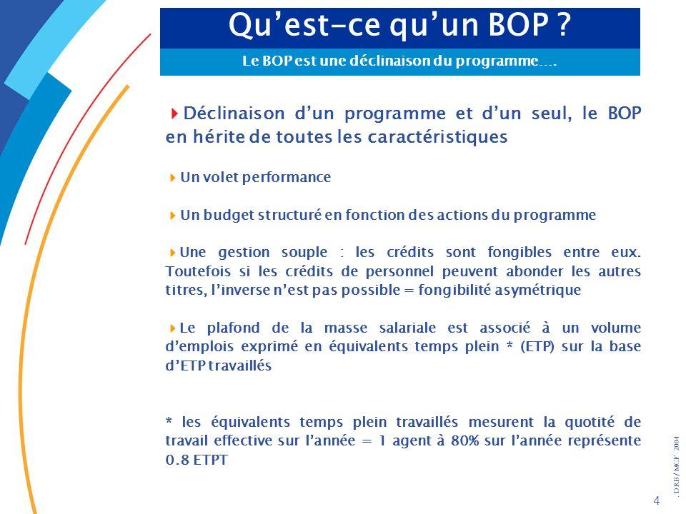 . DRB/ MCF - 2004 4 Quest-ce quun BOP ? Le BOP est une déclinaison du programme…. Déclinaison dun programme et dun seul, le BOP en hérite de toutes le