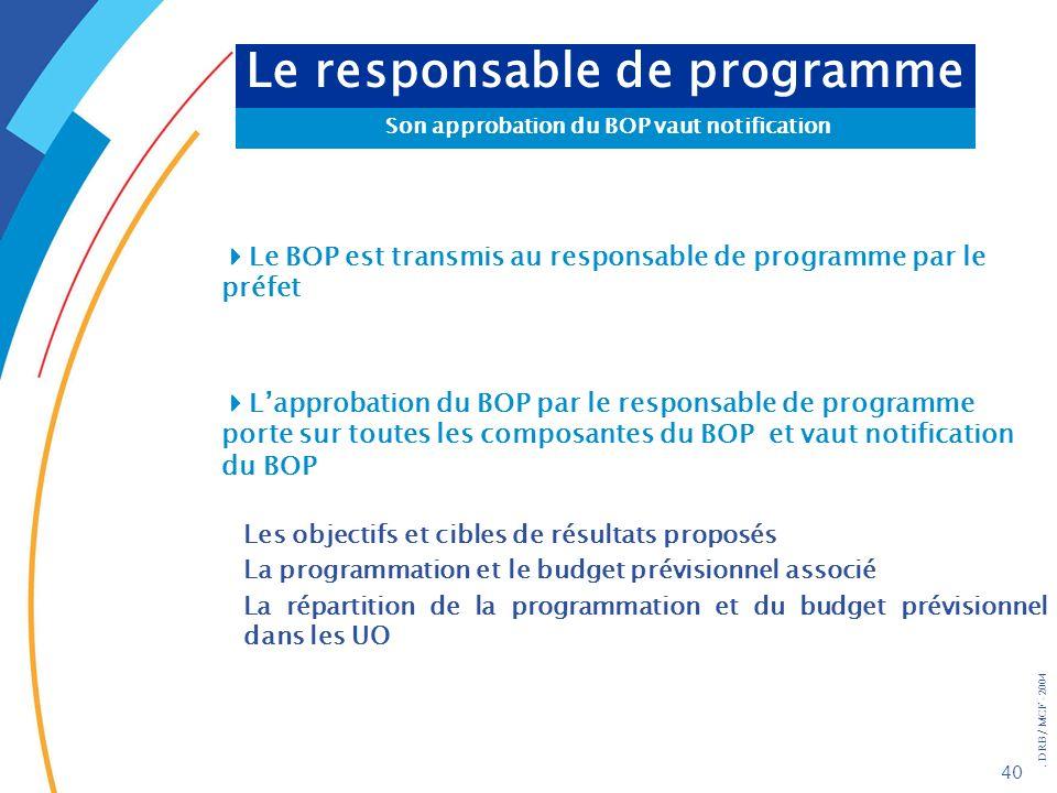 . DRB/ MCF - 2004 40 Le responsable de programme Son approbation du BOP vaut notification Le BOP est transmis au responsable de programme par le préfe