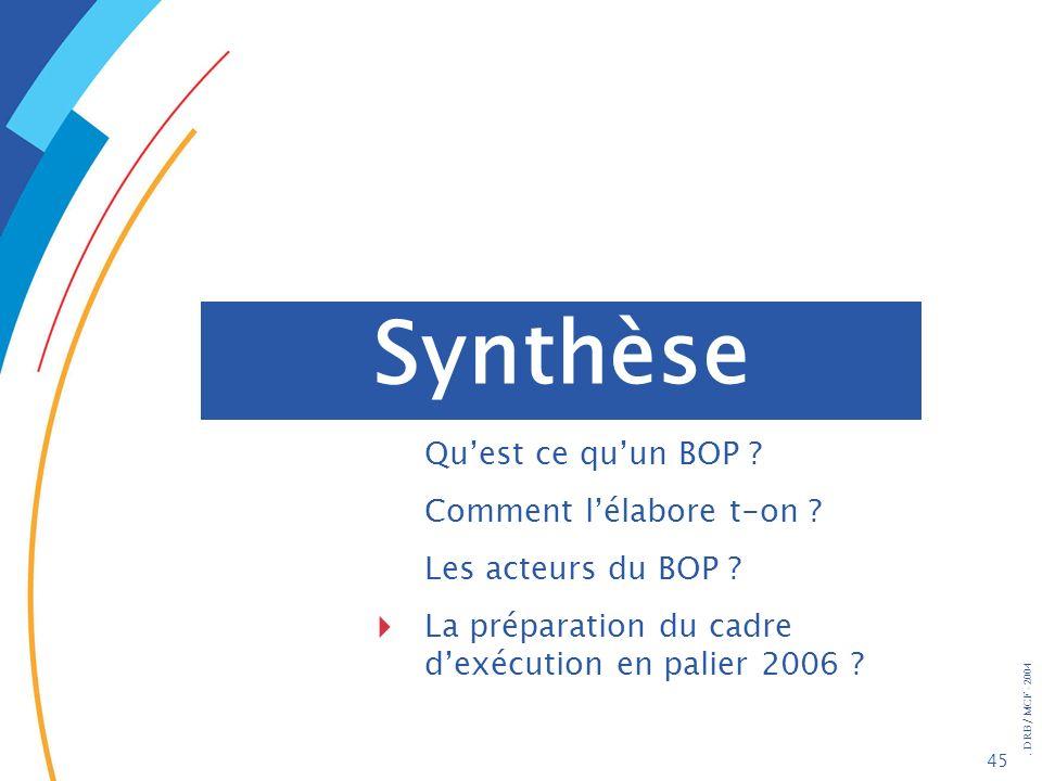 . DRB/ MCF - 2004 45 Synthèse Quest ce quun BOP ? Comment lélabore t-on ? Les acteurs du BOP ? La préparation du cadre dexécution en palier 2006 ?