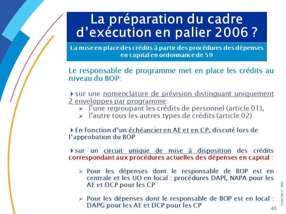 . DRB/ MCF - 2004 46 La préparation du cadre dexécution en palier 2006 ? La mise en place des crédits à partir des procédures des dépenses en capital
