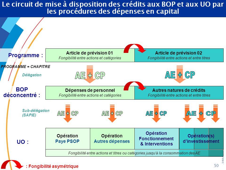 . DRB/ MCF - 2004 50 Article de prévision 02 Fongibilité entre actions et entre titres PROGRAMME = CHAPITRE Article de prévision 01 Fongibilité entre