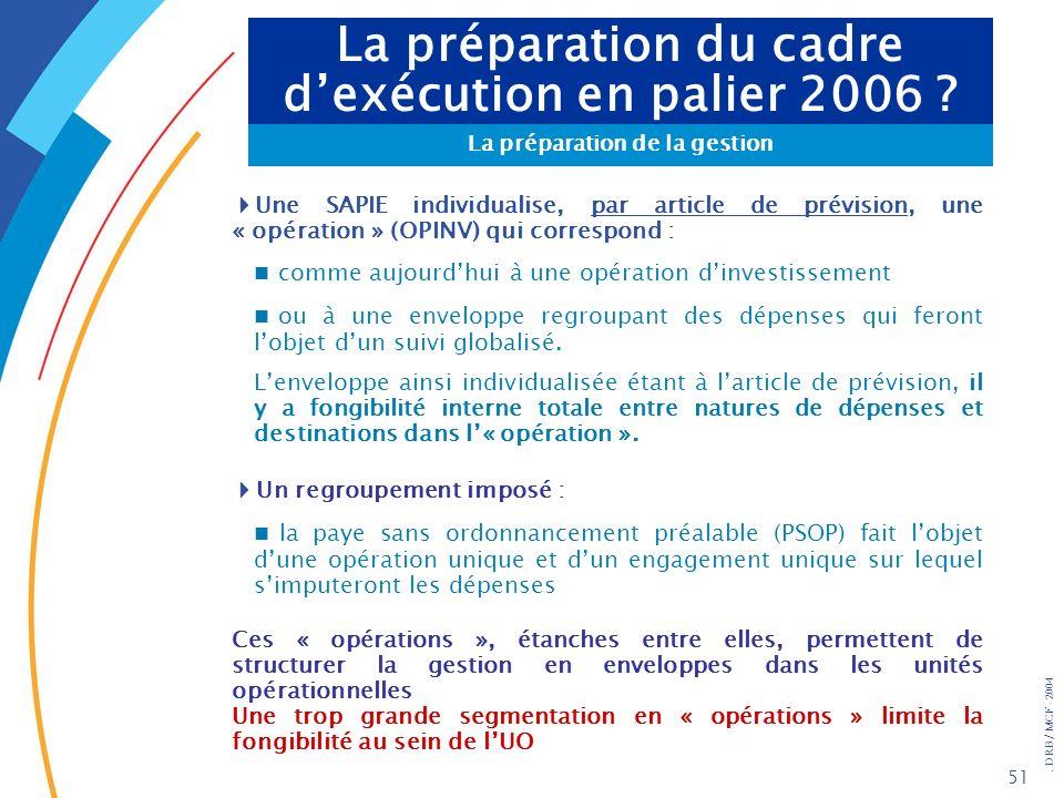 . DRB/ MCF - 2004 51 La préparation du cadre dexécution en palier 2006 ? La préparation de la gestion Une SAPIE individualise, par article de prévisio