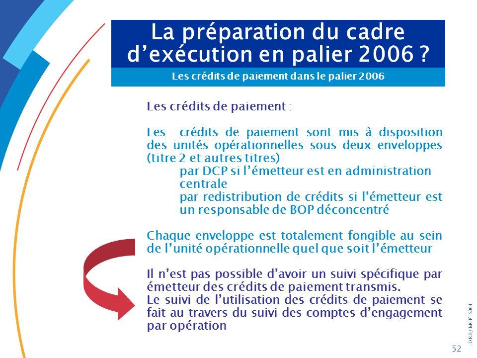 . DRB/ MCF - 2004 52 La préparation du cadre dexécution en palier 2006 ? Les crédits de paiement dans le palier 2006 Les crédits de paiement : Les cré