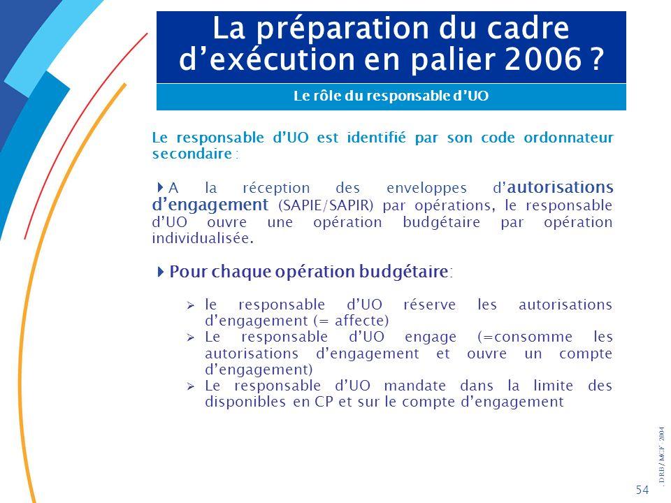 . DRB/ MCF - 2004 54 La préparation du cadre dexécution en palier 2006 ? Le rôle du responsable dUO Le responsable dUO est identifié par son code ordo