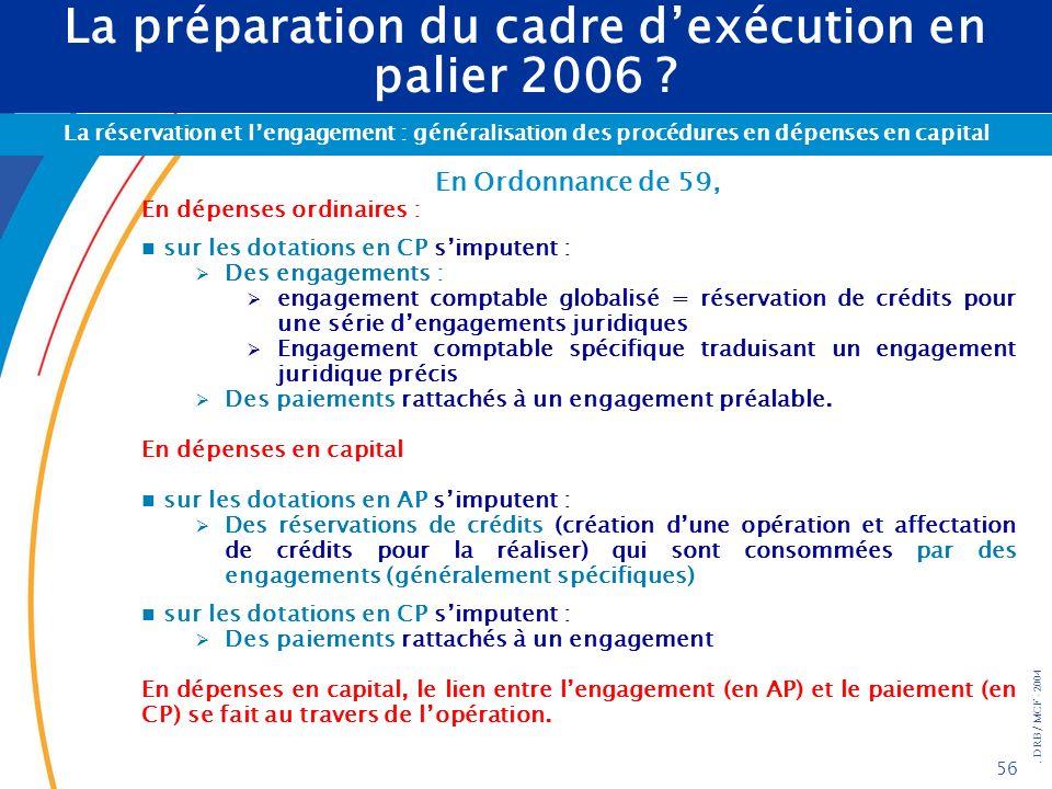 . DRB/ MCF - 2004 56 La préparation du cadre dexécution en palier 2006 ? La réservation et lengagement : généralisation des procédures en dépenses en