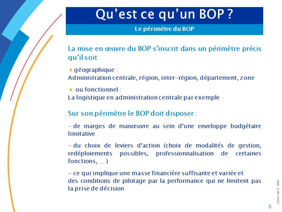 . DRB/ MCF - 2004 37 Les acteurs du BOP Le responsable dUO Lunité opérationnelle est rattachée à un BOP et à un seul par programme ( mais un service peut être plusieurs fois UO de BOP relevant de programmes différents) et est associée à son élaboration dans lexercice de la mise en œuvre des politiques publiques, elle engage les dépenses et mandate ; elle est ordonnateur (généralement délégué dun ordonnateur secondaire) elle peut faire jouer la fongibilité interne, en accord avec le responsable de BOP, dune part au titre 2 dautre part au sein des autres titres (la fongibilité asymétrique reste au niveau du BOP) Elle contribue à la réalisation des objectifs du BOP Les services relevant de lUO assument la compétence métier