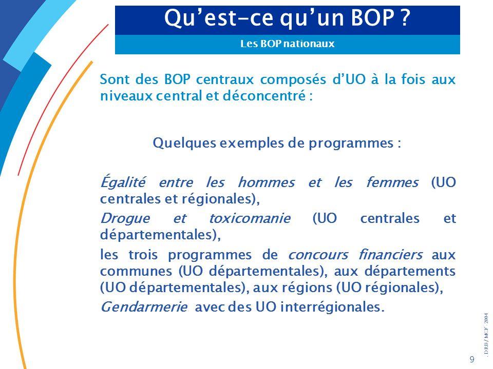 . DRB/ MCF - 2004 9 Sont des BOP centraux composés dUO à la fois aux niveaux central et déconcentré : Quelques exemples de programmes : Égalité entre
