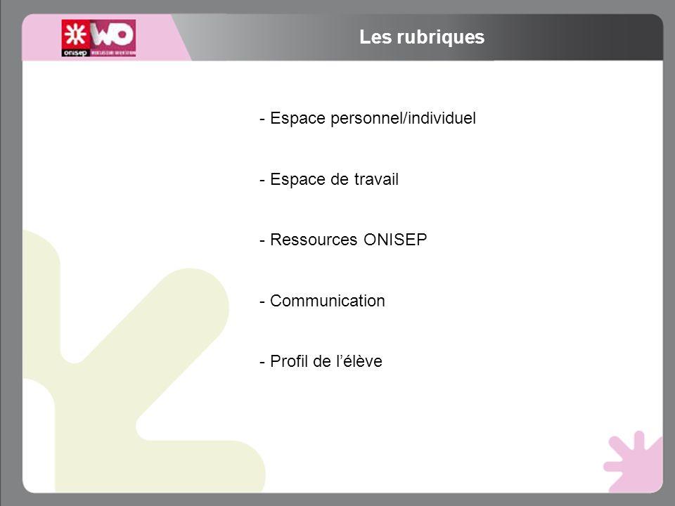 Les rubriques - Espace personnel/individuel - Espace de travail - Ressources ONISEP - Communication - Profil de lélève