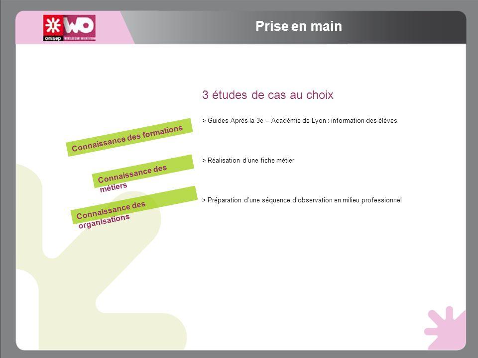 3 études de cas au choix > Guides Après la 3e – Académie de Lyon : information des élèves > Réalisation dune fiche métier > Préparation dune séquence