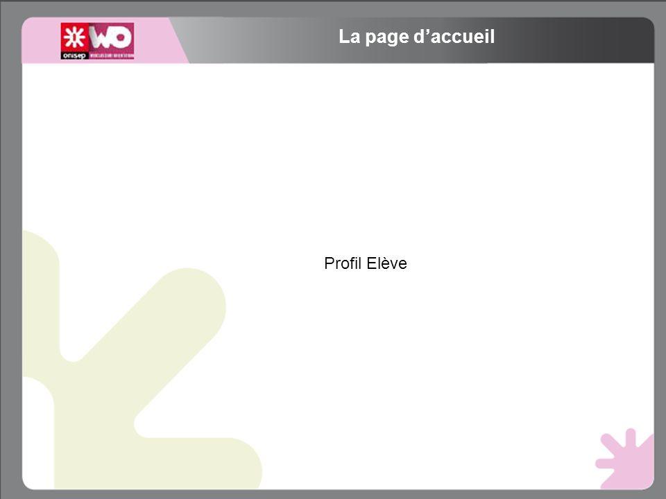 Profil Elève La page daccueil