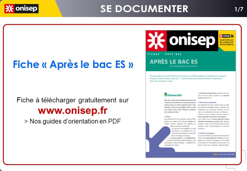 Fiche « Après le bac ES » Fiche à télécharger gratuitement sur www.onisep.fr > Nos guides dorientation en PDF 1/7