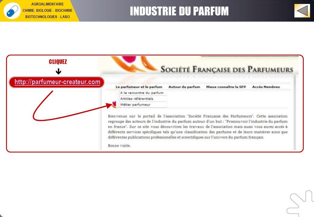INDUSTRIE DU PARFUM http://parfumeur-createur.com CLIQUEZ AGROALIMENTAIRE CHIMIE- BIOLOGIE - BIOCHIMIE BIOTECHNOLOGIES - LABO