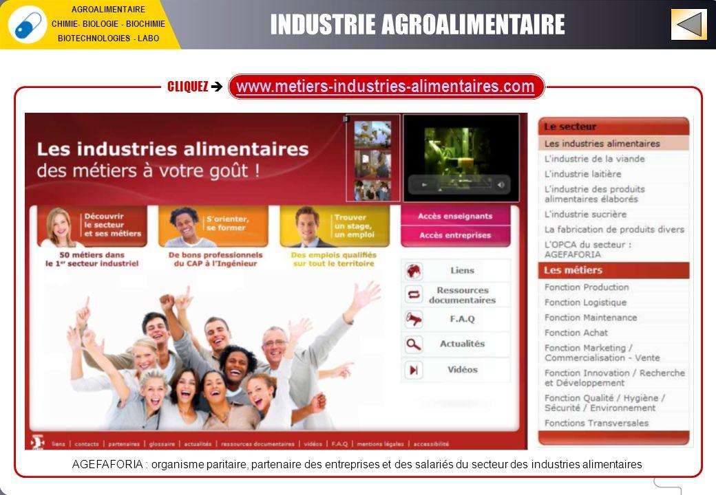INDUSTRIE AGROALIMENTAIRE CLIQUEZ www.metiers-industries-alimentaires.com AGEFAFORIA : organisme paritaire, partenaire des entreprises et des salariés