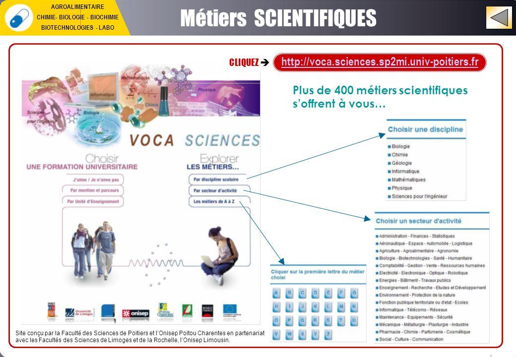 Métiers SCIENTIFIQUES Site conçu par la Faculté des Sciences de Poitiers et lOnisep Poitou Charentes en partenariat avec les Facultés des Sciences de