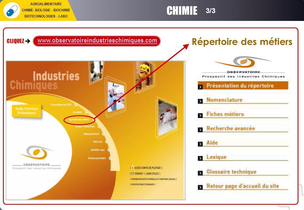 Répertoire des métiers CLIQUEZ www.observatoireindustrieschimiques.com CHIMIE 3/3 AGROALIMENTAIRE CHIMIE- BIOLOGIE - BIOCHIMIE BIOTECHNOLOGIES - LABO
