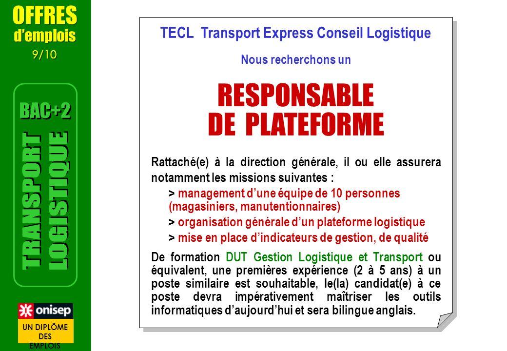 TECL Transport Express Conseil Logistique Nous recherchons un RESPONSABLE DE PLATEFORME Rattaché(e) à la direction générale, il ou elle assurera notam