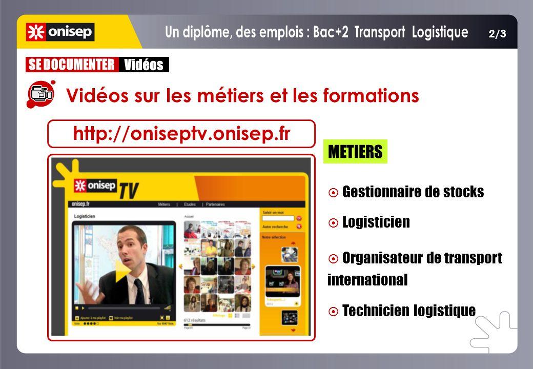 2/3 Vidéos sur les métiers et les formations Gestionnaire de stocks Logisticien Organisateur de transport international Technicien logistique Gestionn