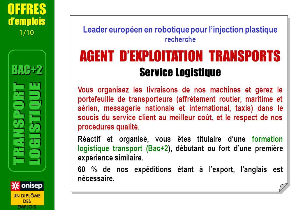 Leader européen en robotique pour linjection plastique recherche AGENT DEXPLOITATION TRANSPORTS Service Logistique Vous organisez les livraisons de no