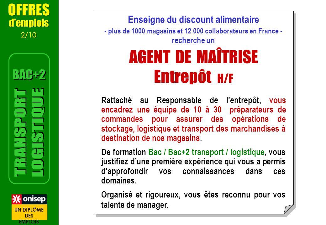 Enseigne du discount alimentaire - plus de 1000 magasins et 12 000 collaborateurs en France - recherche un AGENT DE MAÎTRISE Entrepôt H/F Rattaché au