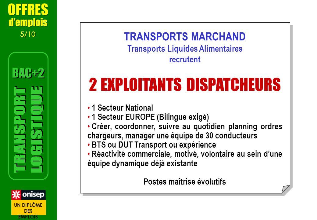 TRANSPORTS MARCHAND Transports Liquides Alimentaires recrutent 2 EXPLOITANTS DISPATCHEURS 1 Secteur National 1 Secteur EUROPE (Bilingue exigé) Créer,