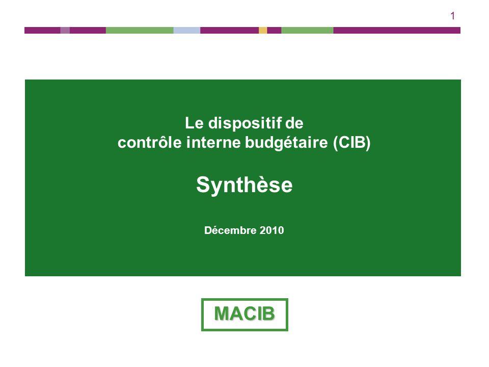 1 Le dispositif de contrôle interne budgétaire (CIB) Synthèse Décembre 2010 MACIB