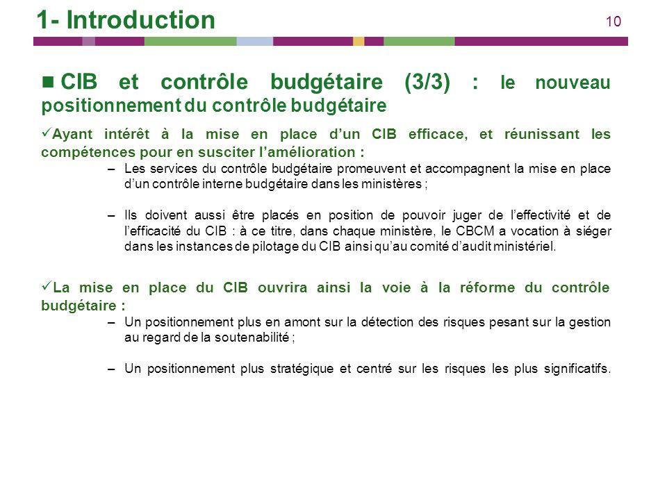 10 CIB et contrôle budgétaire (3/3) : le nouveau positionnement du contrôle budgétaire Ayant intérêt à la mise en place dun CIB efficace, et réunissan
