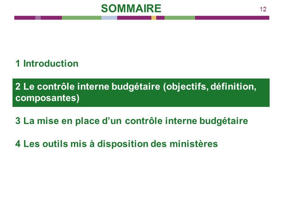 12 1 Introduction 2 Le contrôle interne budgétaire (objectifs, définition, composantes) 3 La mise en place dun contrôle interne budgétaire 4 Les outil