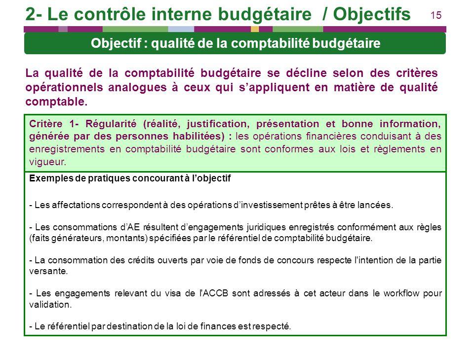 15 La qualité de la comptabilité budgétaire se décline selon des critères opérationnels analogues à ceux qui sappliquent en matière de qualité comptab