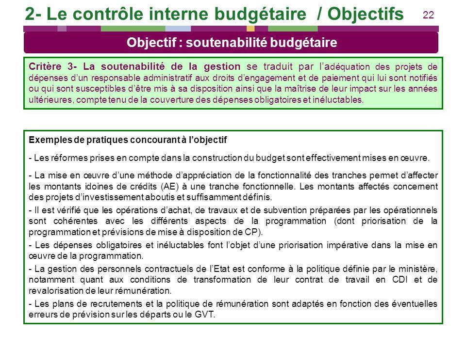 22 Exemples de pratiques concourant à lobjectif - Les réformes prises en compte dans la construction du budget sont effectivement mises en œuvre. - La