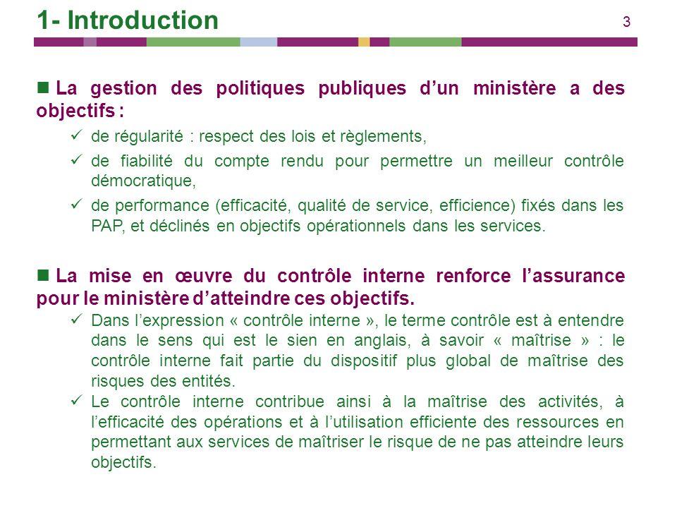 3 1- Introduction La gestion des politiques publiques dun ministère a des objectifs : de régularité : respect des lois et règlements, de fiabilité du